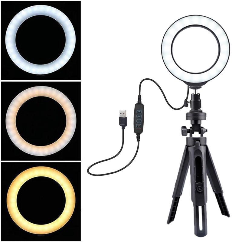 6 inch Ring Light with Adjustable Stand LED with Dimmable 3 Light Mode for YouTube Live Stream Makeup Photography