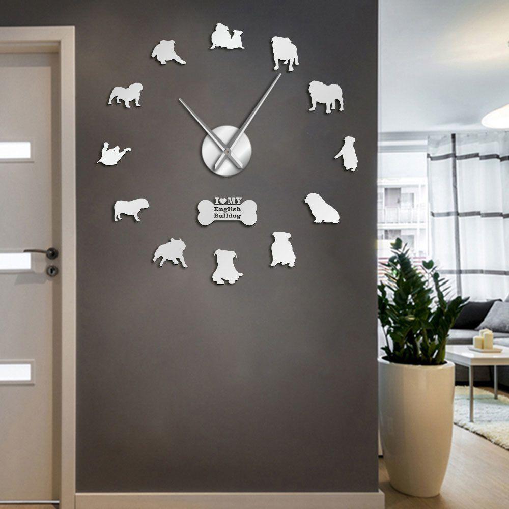 Anglais Accueil Décor Britannique Bulldog Silhouettes Art Bricolage Grand garde-temps Big Time Wall Horloge 201118