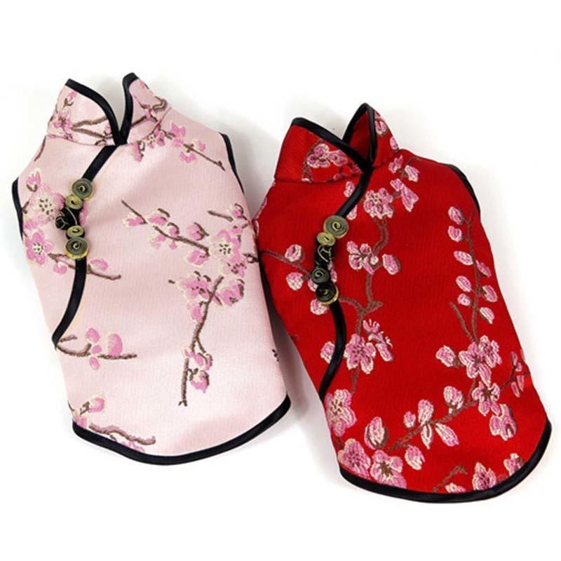 Vêtements de chien d'été cheongsam animaux domestiques chiens vêtements de broderie vêtements pour petits chiens moyens chinois style chinois vêtements vêtements pour chat chien lj201130