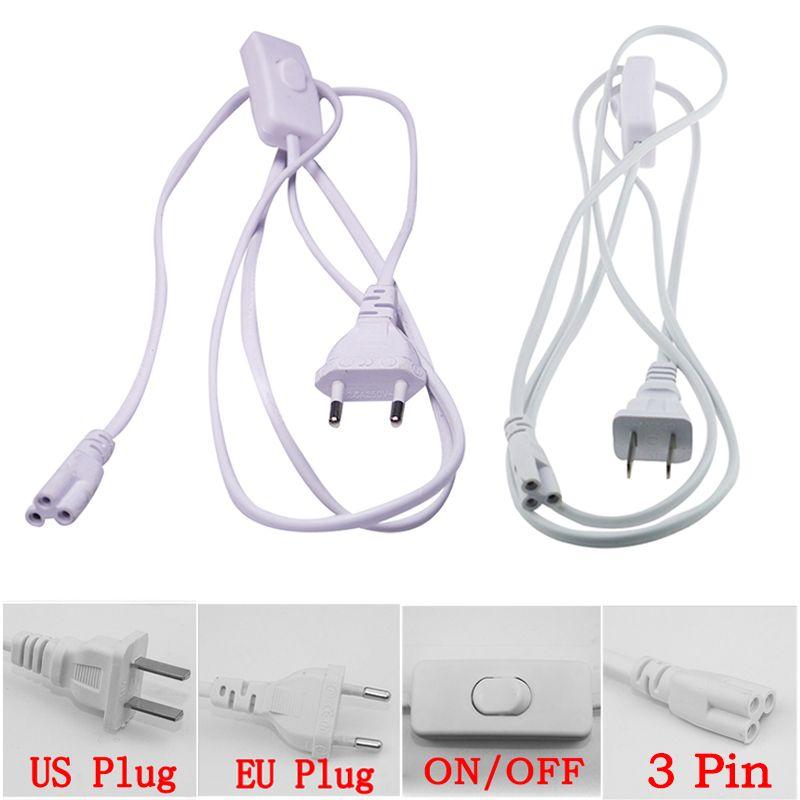 Câble de connecteur T5 T8 3 broches 150cm US EU Fiche avec interrupteur Câble de cordon d'alimentation pour le tube LED intégré DHL Livraison gratuite