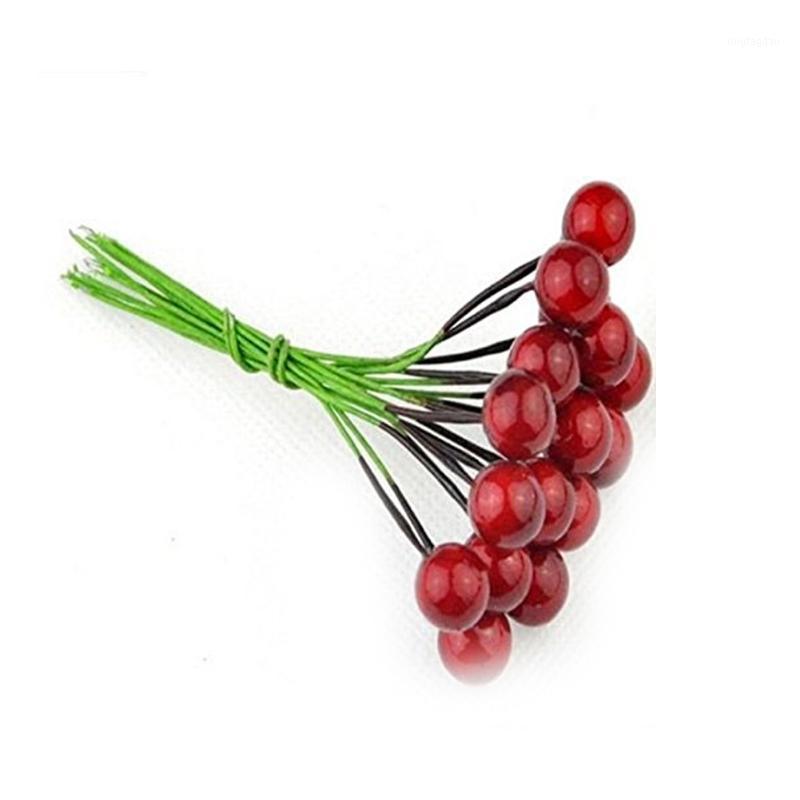 30шт рождественские красные ягоды DIY искусственные фрукты ягоды Холли цветок ветви ветви венкости ремесло украшения красочные1