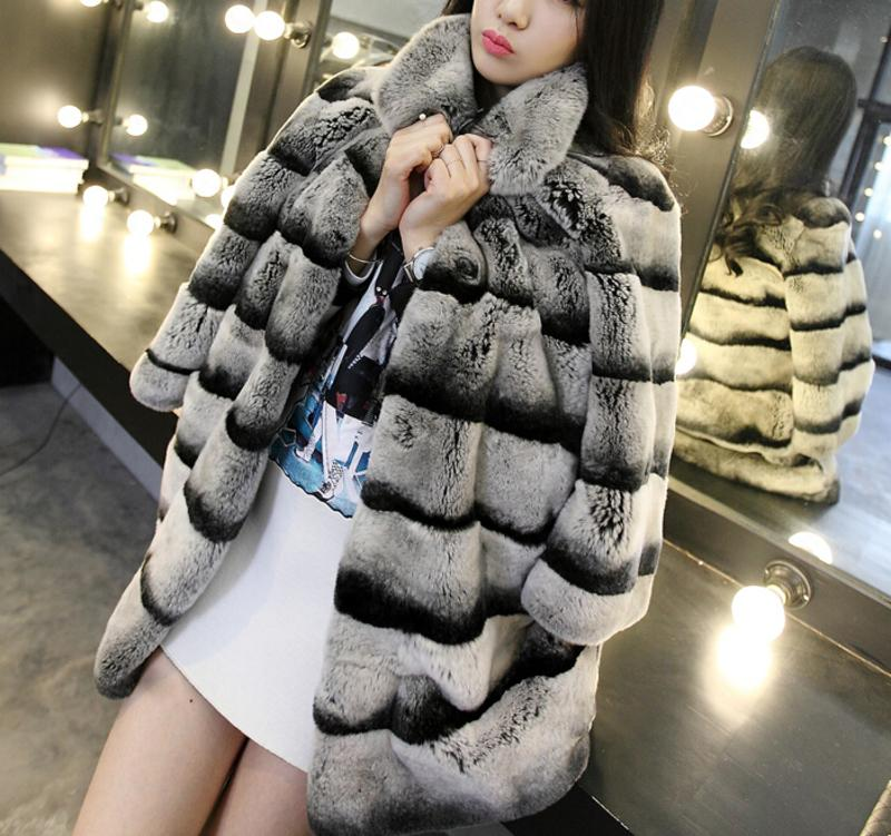 Best Real Chinchilla Coat For Women Genuine Rex Rabbit Coats Woman Natural Plus Size Thick Warm Fur Overcoat 201016
