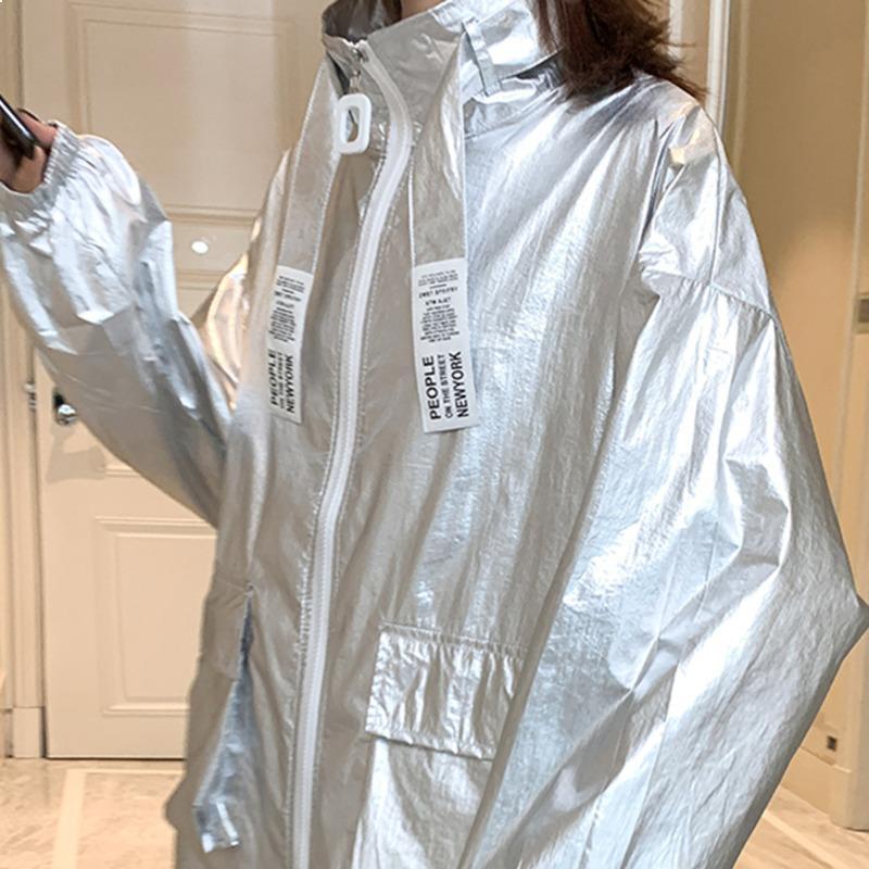 2021 New Bright Women Neon Silver Silver Chaqueta de verano Chaquetas delgadas Plus Sleeve Sleeve Outerwear TQD4