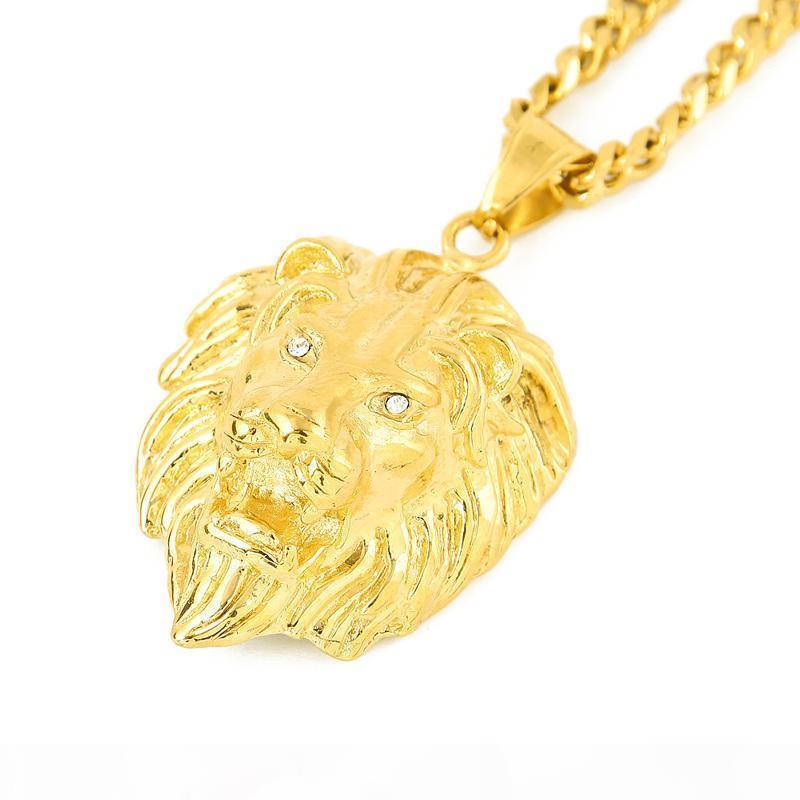 Lion Head PendantsNecklaces Catene di Hip Hop gioielli d'oro per i monili del progettista dell'acciaio inossidabile degli uomini di Cuba Catena Dichiarazione collana bijoux