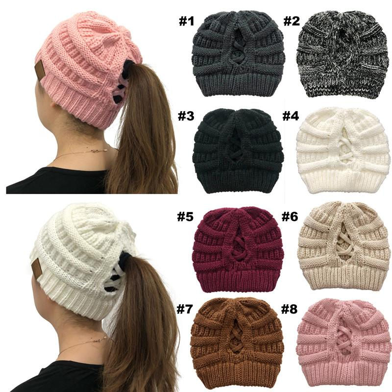 New Cross Criss Ponytail Hat Winter Hats For Women Lady Foldable Horsetail Cap Warm Branded Knitted Thick Outdoor Ski Caps
