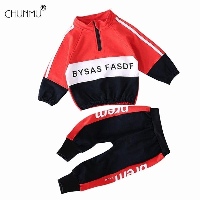 Baby Boys одежда набор весна детские мальчики одежда мода лоскутная футболка + брюки 2шт спортивный костюм малыш девушка новорожденная одежда 201126