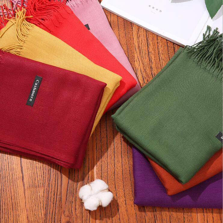 Einfarbig Kaschmirschal 35cm dicken langen Schals für Herbst Winter warm halten Quaste Schal Hersteller Frauen Mehrfarben 8pcs / lot