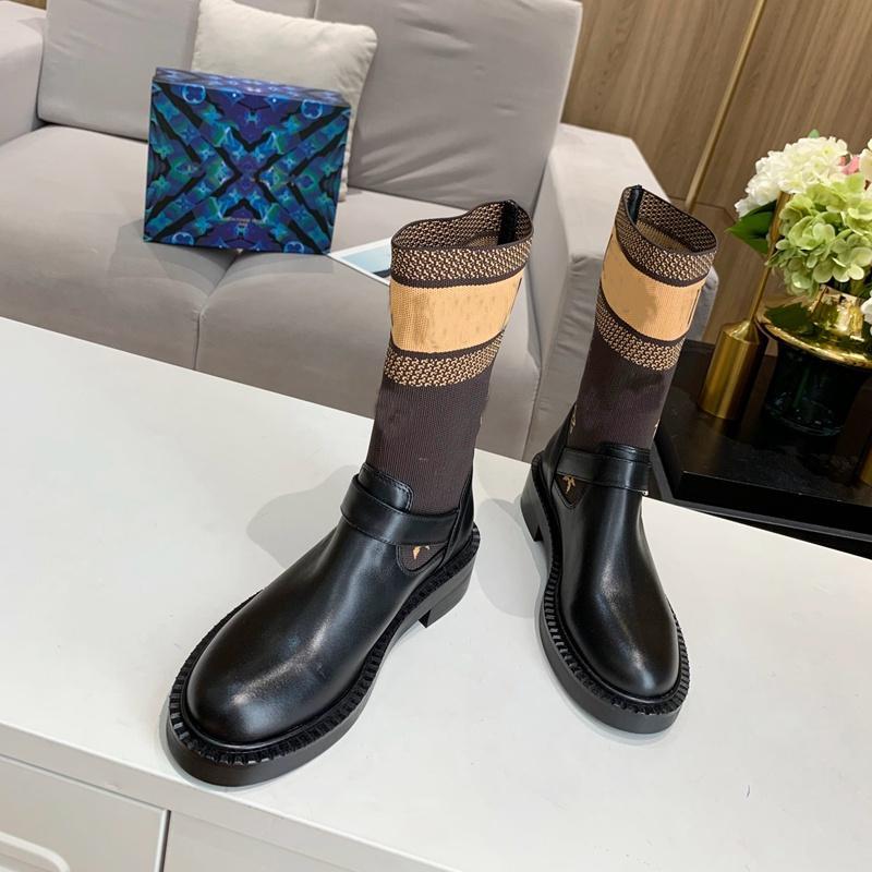 Las mujeres Martin Botas causal medios cargadores de arranque zapatos de calcetines de invierno nuevos botines de moda con botas de cuero del tobillo carta de alta calidad bottes femmes