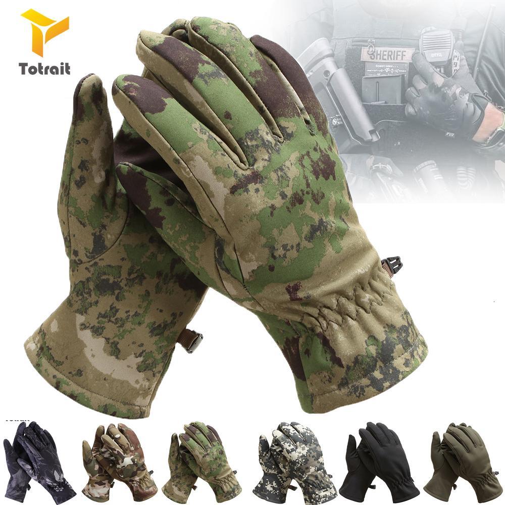 TOtait орел акулы кожу мягкой оболочки камуфляж флис перчатки перчатки все тактические перчатки Commando CS езда на велосипеде, чтобы согреться