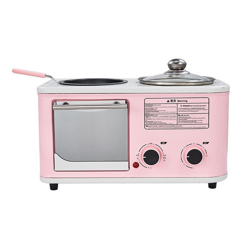 Elektrik 3 in 1 Ev Kahvaltı Makinesi Mini Ekmek Tost Pişirme Fırın Omlet Fry Pan Sıcak Pot Kazan Vapur AB