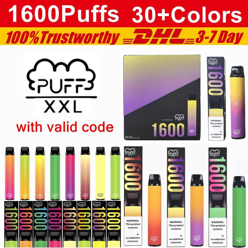 Puff XXL Jaute Vape Stylos 1600 Puffs 850mAh Barres de barre de bouffée de batterie Posh Plus Bang XL XL XL XXL Kits de périphérique pré-remplis jetable e cigarettes
