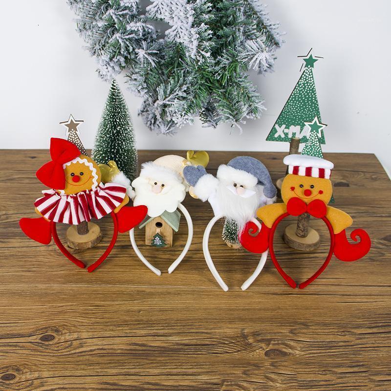 2 unids / lote círculo adorno navideño tela arte santa claus pelo aro encantador galletas personas niña cabeza cabeza aro cumpleaños fiesta