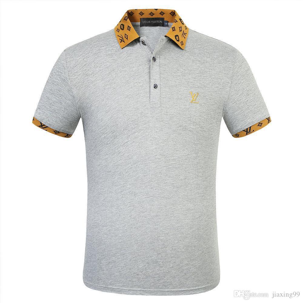 venta directa de fábrica de Louis Vuitton para hombre del verano más el tamaño de las camisetas del O-cuello de manga corta camiseta de la leche Impreso Camiseta de algodón