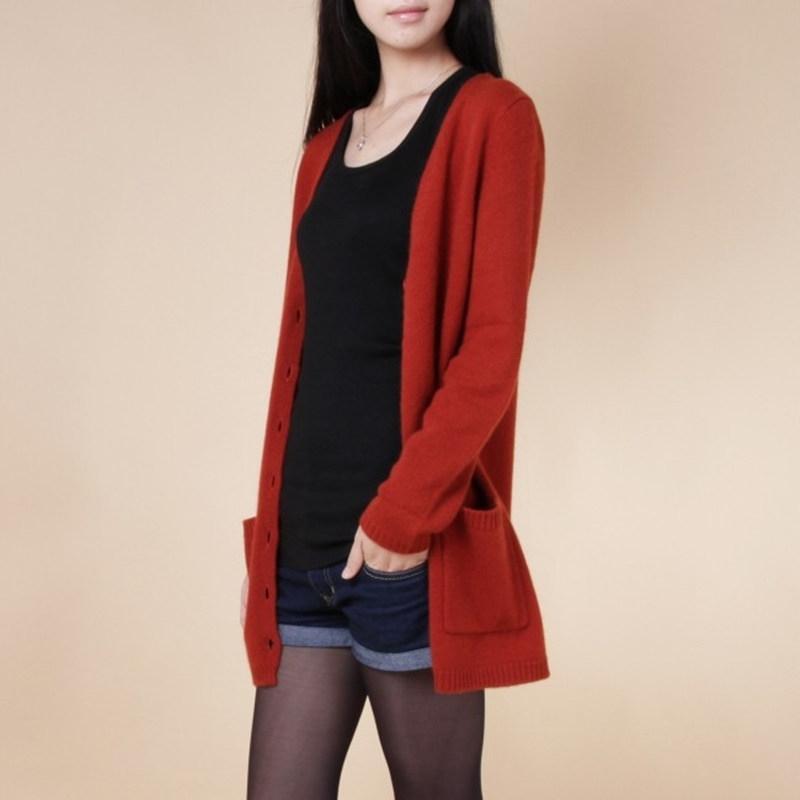 neuer Strickjacke Frauen Frühling Herbst lange Strickjacke Dame Kaschmir Material losen Pullovers für weibliche Oberbekleidung Mantel mit Taschen 201007