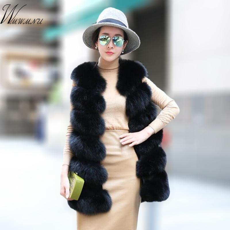 Mode fausse fourrure veste manteau femme street wear Casual Fox Veste en fourrure Waistcoat taille plus 3XL manches en peluche manteau feamle 201016