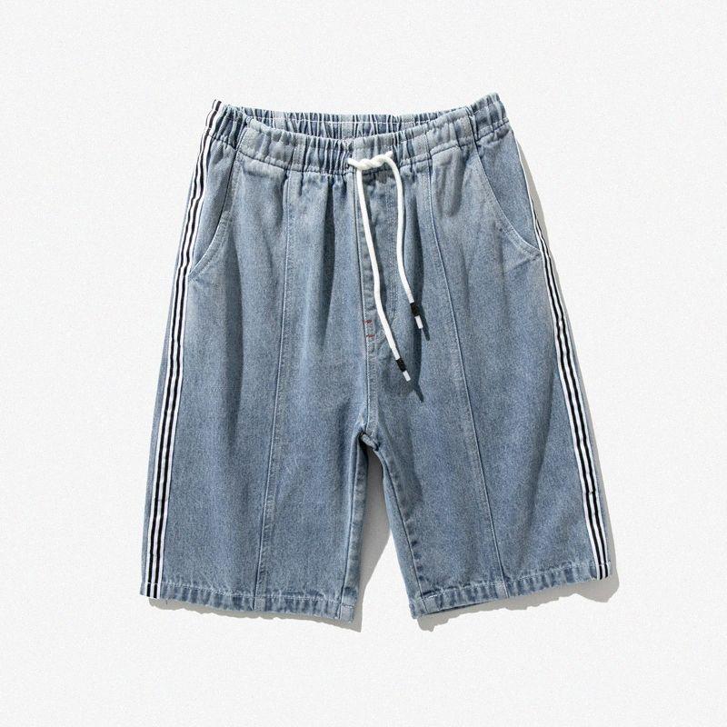 Shorts Jeans Männer kurze homme über das Knie Fest Farbe losen Parrten Elastic 2020 Sommer-beiläufige Denim-Hosen Shorts Männer QBVZ # Gestreifte