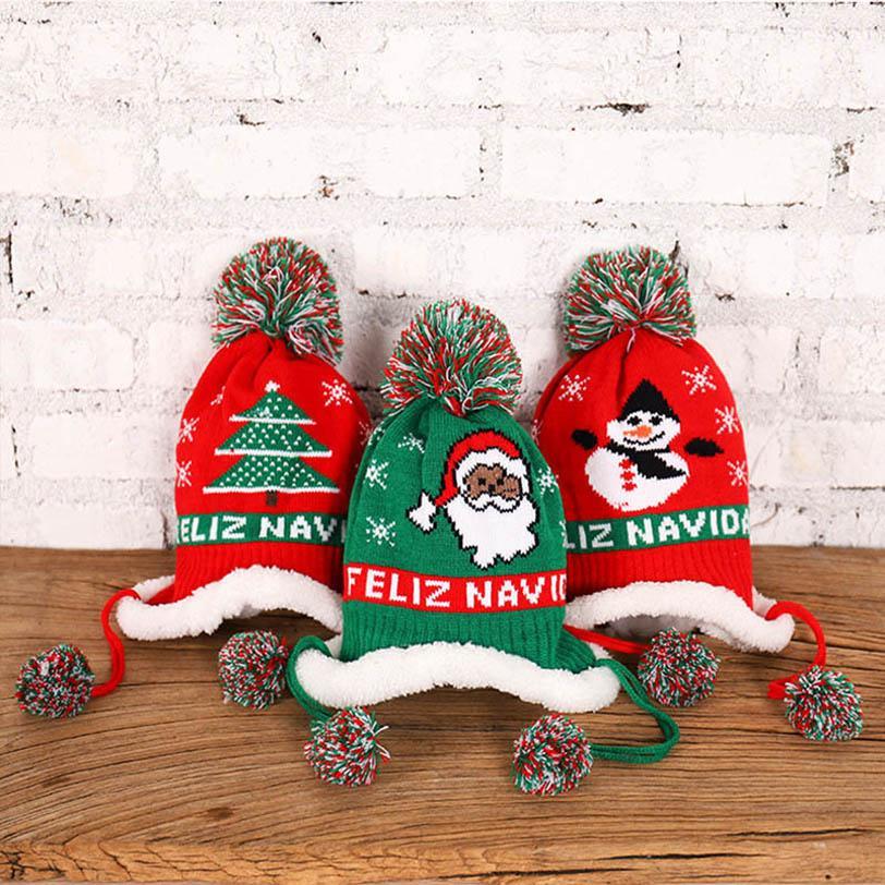 Nuevos 2020 de invierno de Navidad los niños de dibujos animados bolsas crochet los sombreros del bebé mantienen calientes chicos niñas sombrero sombreros beanies de bebé casquillos de los cabritos B2512