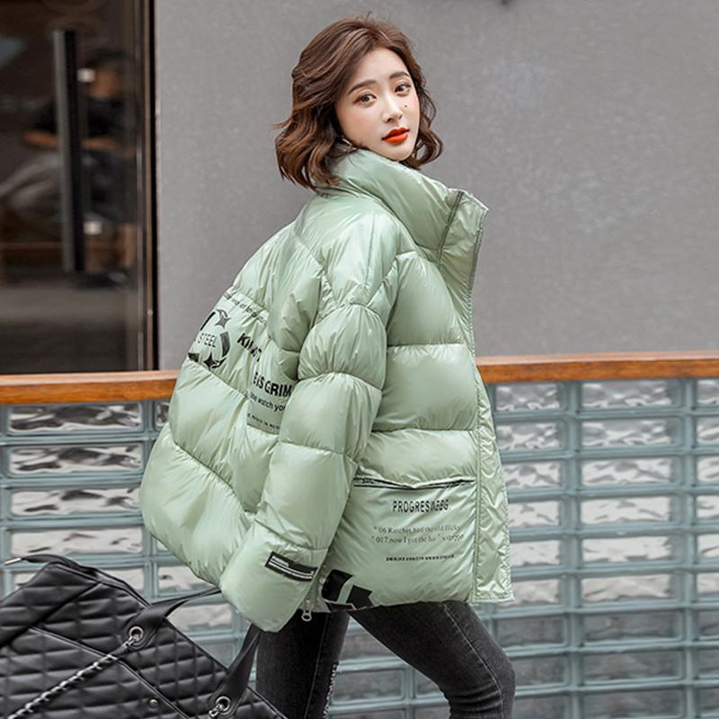 Korean Style Women's Winter Jacket With Zipper Stand Collar Printing Loose Female Parkas Thick Cotton Padded Women Puffer Coat 201014