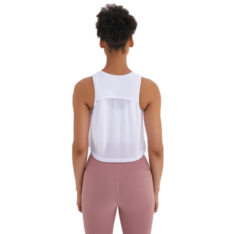NWT PLISADOS de alta cuello yoga de la aptitud tapas del tanque del chaleco mujeres sueltan el ajuste de secado rápido atlético del entrenamiento de los cultivos sin mangas camisas