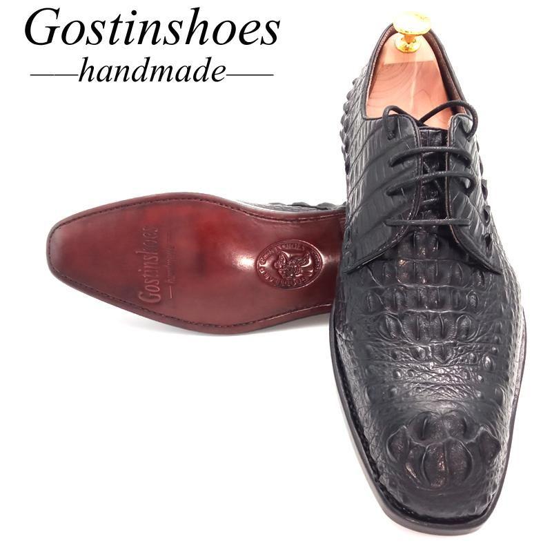 De punta estrecha venta 44 zapatos Goodyear hecho a mano vestido de los hombres Negro genuino de lujo de piel de cocodrilo hombres zapatos formales Oxford con cordones