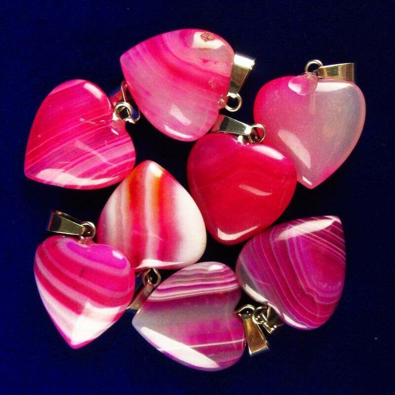 5шт Peachblow Onyx Агатовые сердца кулон из бисера (отправка случайно) 22x20x6mm YJ35SK