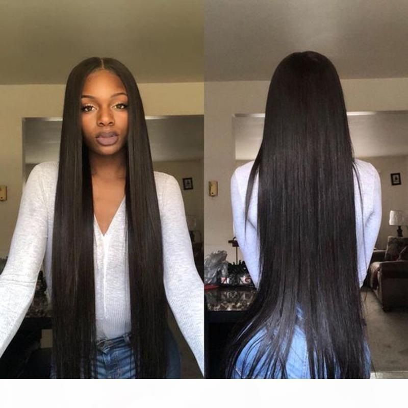 Lacefront Perucas Humano Com Colorido Pré arrancada longa reta Virgin Remy brasileira Glueless completa cabelo humano peruca dianteira do laço da Mulher Negra