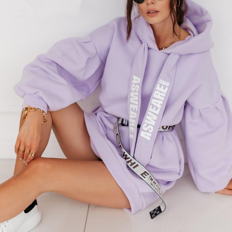 2020100914 Фиолетовый свободные фуфайки толстовки женской моды случайные осень длинный рукав фуфайки платья женские негабаритный фуфайки