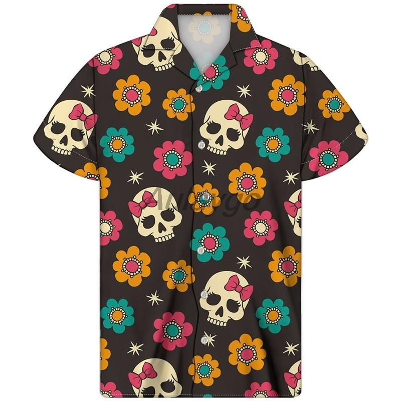 الكوبي قميص الجمجمة طباعة guayabera camisa hombre هاواي قميص الصيف الرجال زائد الحجم ملون الجمجمة ملابس tela calaveras LJ200928