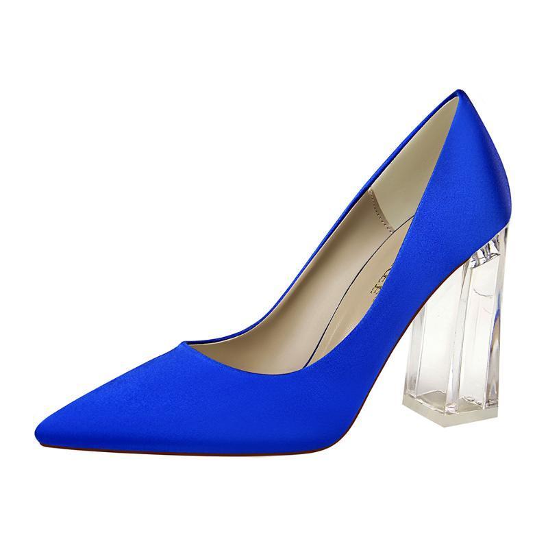 Обувь платье Silk Sileck Super Super High каблуки женские насосы квадратный каблук заостренный носок сплошной цвет для вечеринок банкет G0082