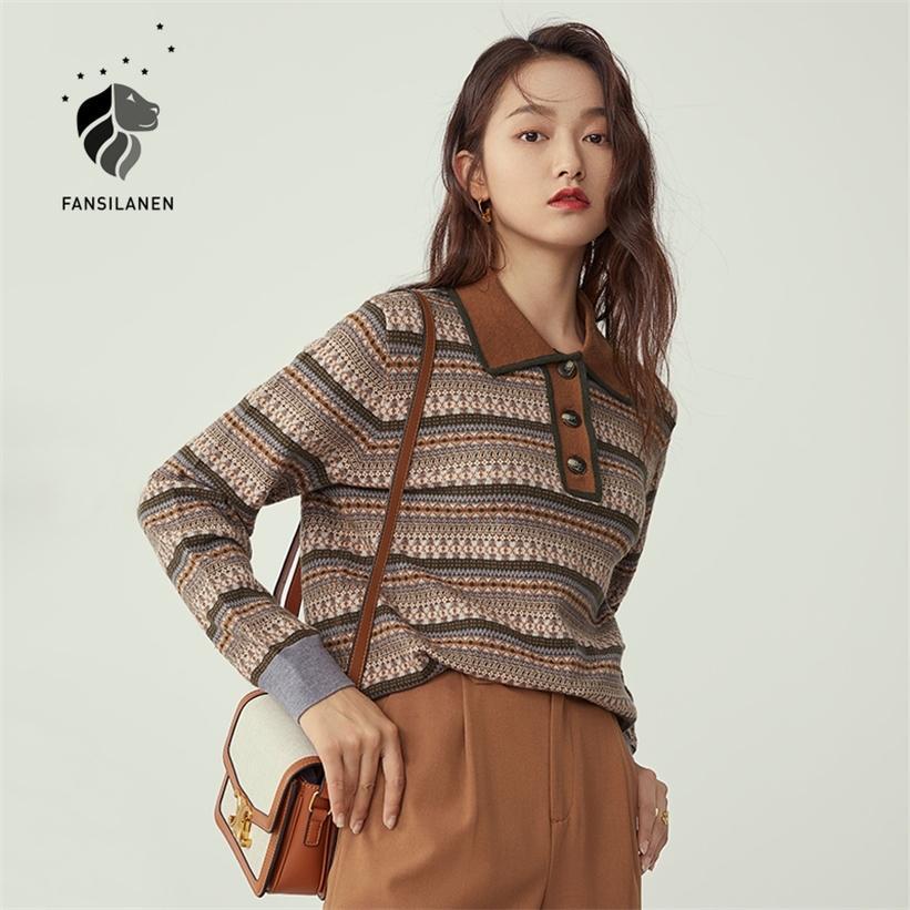 Fansilen Polo Striped Vintage вязаный свитер Женщины с длинным рукавом Негабаритный пуловер женская осень зимняя кнопка джемпер топ 201223