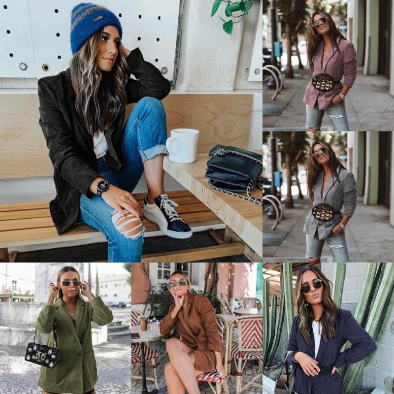 Femmes Casual Couleur Solide Manches Longues Poches Loose Poches Ventre Ventre Ventre Ventre Ventilatrice De Style Britannique Streetwear Jacket Femme Automne Hiver