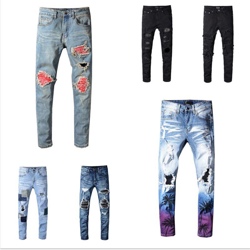 2020 رجل مصممين جينز جيب رجل السراويل أفضل نوعية محزن ممزق هول المراهقين الشارع الشهير نمط الملابس السراويل