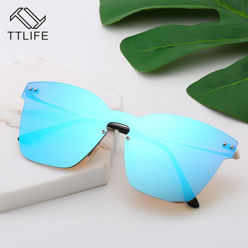 Lunettes de coupe UV lentille femelle lunettes sans cadre surdimensionnée femmes protection solaire sans chasse lunettes de soleil mâles ttlife uv400 tjnas