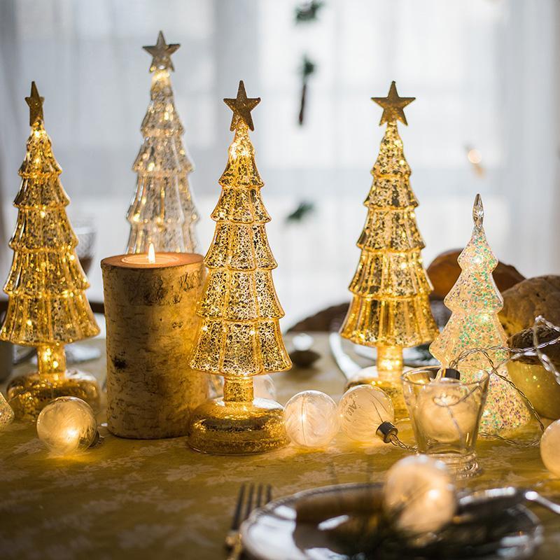 زينة عيد الميلاد كريستال الزجاج شجرة مهرجان حزب المنزل الحلي عيد الميلاد الديكور 2021