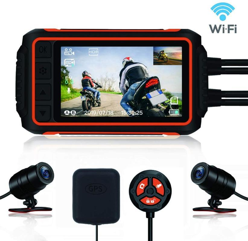 Motorcycle Dash Cam, Anti-Shake Waterproof Camera, 1080P Dual Lens, with GPS WiFi 150° Wide Angle Night Vision Recording,4'' LC