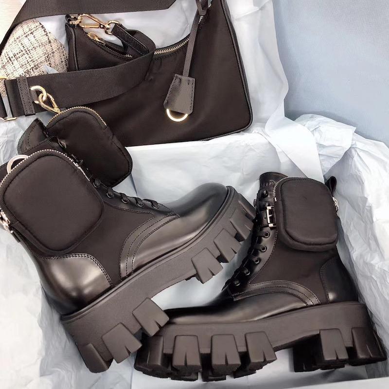 النساء المصممين روايات الأحذية الكاحل مارتن الأحذية والنايلون التمهيد العسكرية مستوحاة من الأحذية القتالية القتالية النايلون كوني المرفقة بالكاحل مع أكياس