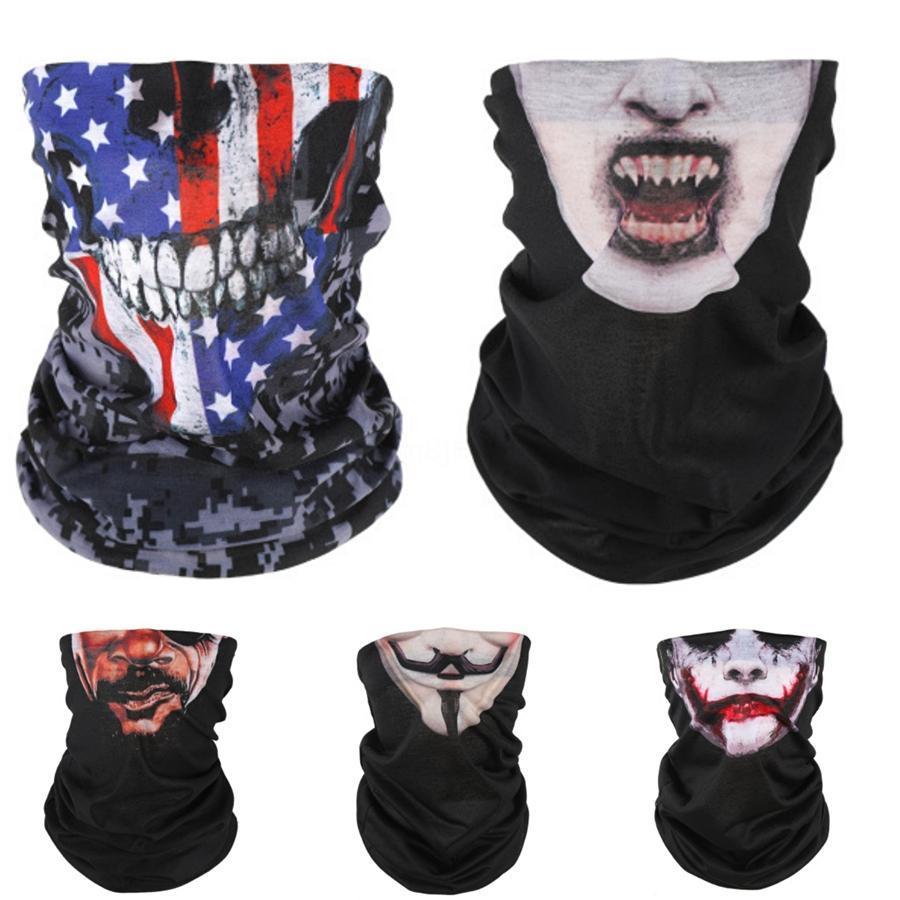 La mitad de mujeres de los estilos de la mascarilla del cráneo bufanda al aire mágico 14 Impreso a prueba de polvo a prueba de viento pañuelo de seda diseñador de la cara de la gasa de la sombrilla Wgrq