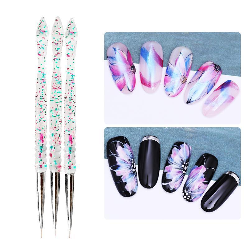 3 stücke Liner Nagelbürste Set für UV Gel Acryl Zeichnung Malerei Stift Bunte Griff Pinsel Pen Nail art DIY Bea Sqcjei