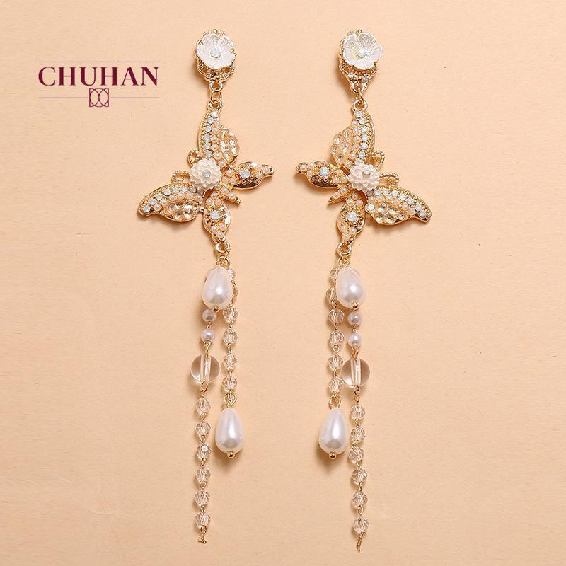 Pendientes Largos Chuhan simple de la manera de la personalidad de tendencia perla borla pendientes retro exquisito de la mariposa romántica del perno prisionero J258