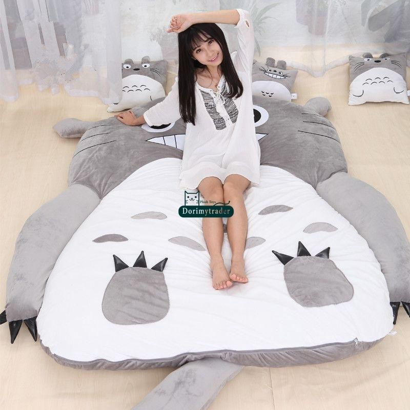 Dorimytrader Hot Japanese Anime Totoro Sleeping Bag Big Plush Soft Carpet Mattress Bed Sofa with Cotton Free Shipping DY61067AG02
