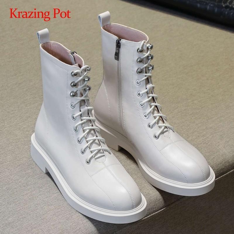 Krazing pot bottes de moto-cross liée en cuir naturel bout rond solide plus cool fermeture à glissière talon épais de bottines d'usure quotidienne L82