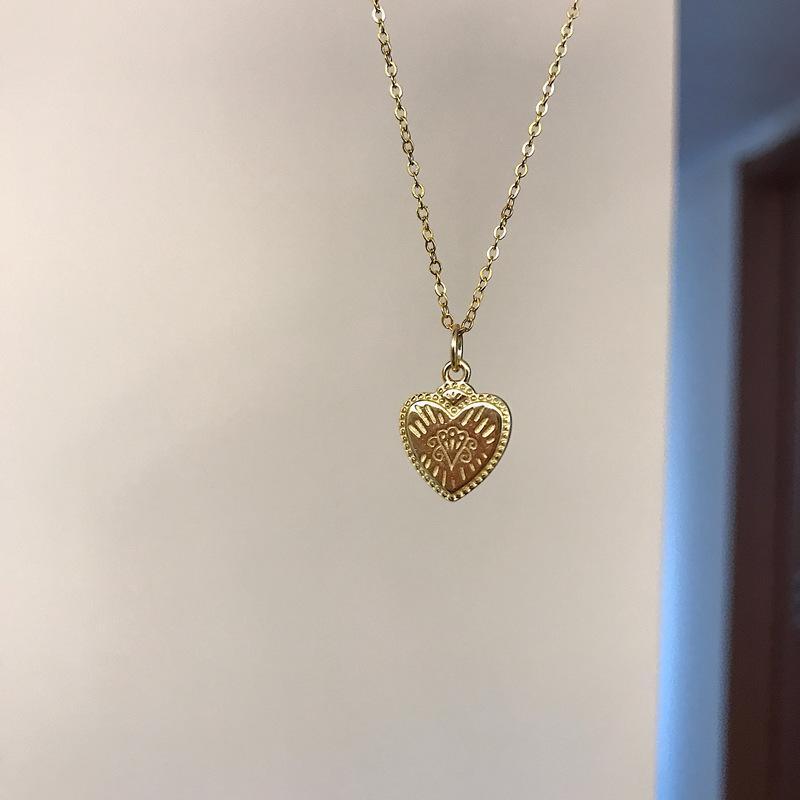 Silvology 925 Sterling Sterling Creative Texture Coeur Pendentif pour Femmes Patron de Collier élégant Collier chic bijoux
