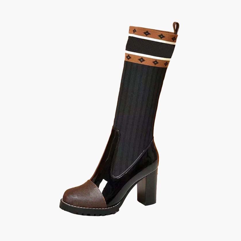 Moda de coincidencia de colores redondos de las mujeres principales largas botas de cuero botas de mujer martin casuales salvajes antideslizantes de las mujeres L250 07 02