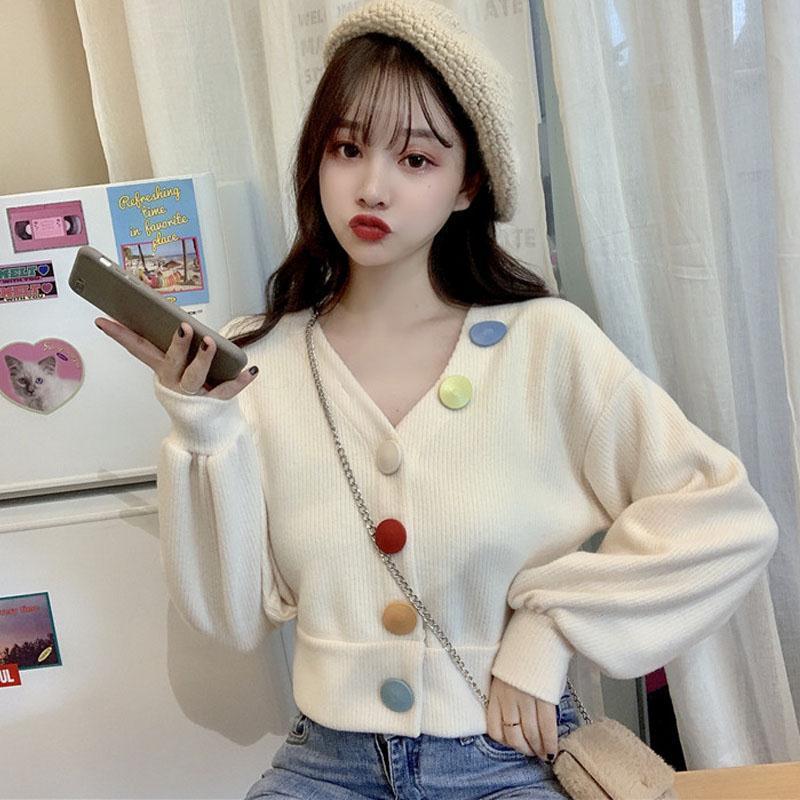 New Fashion Vintage Cardigan Women Single Breasted Manica Lunga a maniche lunghe Maglioni Ladies Jumper Candy Colors Bottone Cappotto