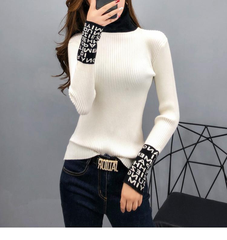 20ss Nuevo suéter de invierno para mujer Jersey para las mujeres Puentes lindos Ladies Suéter Vestidos Turtimeneck Carta de impresión Suéteres Tamaño S-XL