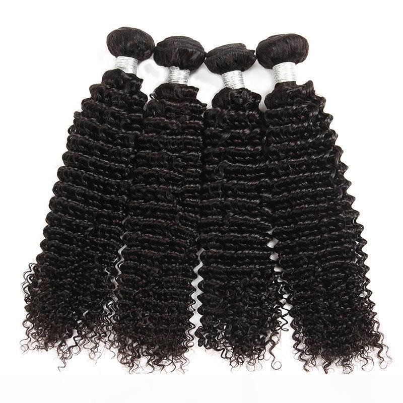 Brasilianische lockige Jungfrau-Haar-FEFTS 4 Bündel Natürliche schwarze verworrene lockige Haare webt brasilianische Jerry Curly Jungfrau Menschenhaarverlängerung
