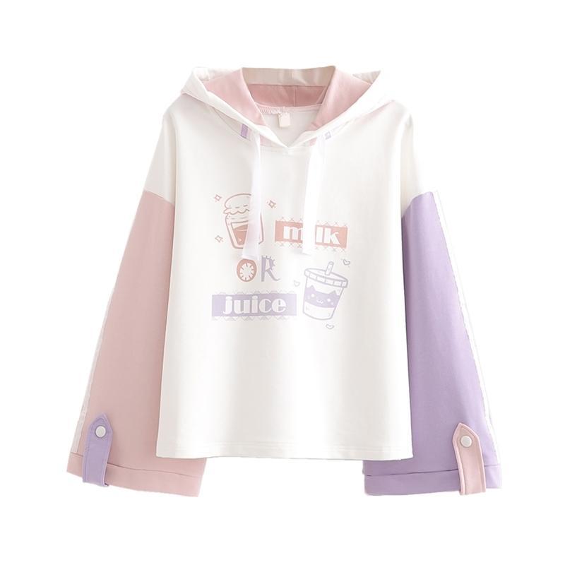 Feliz Bonita Mulheres dos desenhos animados de algodão Imprimir Harajuku hoodies camisolas Primavera manga comprida contraste de cor com capuz Fatos 201020