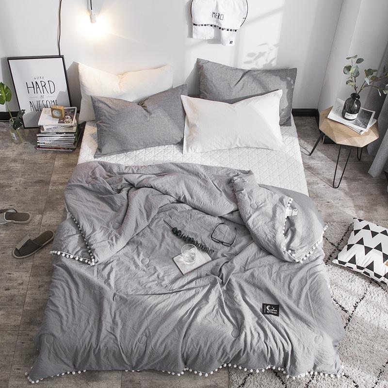 Verão Deite-de-rosa fresco colchas de retalhos Quilt costura pequeno For Queen Bolas de cama tampa de cama sólida edredon Rei Colcha suave