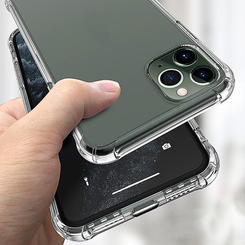 Anti-knock soft tpu Caixa de telefone claro para iphone 12 pro máximo 12 mini transparente à prova de choque anti-queda capa protetora para iphone 11 xs casos