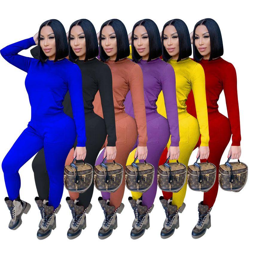 Женщины Scestsuits Две части набор сплошных цветных повседневных тонких сексуальных осенних карманов с длинным рукавом Брюки Дамы Новый Fahsion Sportwear Outfits